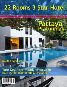Pattaya Hotel for sale: on 800 sqm land, located Pratumnak Hill, 500 m from beach, city center 6 km, features bar and restaurant, outdoor pool with Jacuzzi, dry cleaning laundry service, 24-hour front desk, elevator, smoking area, private parking, 22 rooms, refrigerators, plasma LCD TVs, cable channels, Mini-Bar, Bathroom with Bath or Shower, safes, 2 family rooms, 2 deluxe rooms, 15 standard rooms, selling price 75,000,000.00 THB all included, call 0800 176 100 or take a look…
