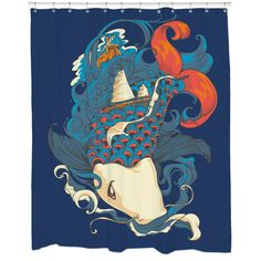 Create a seaside setting while instantly upgrading your bathroom decor with this colorful shower curtain featuring an artistic fish and ships design. This curtain comes with 12 button holes for hook placement.