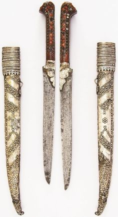 Ottoman (Balkan) bichaq dagger, 19th century, steel, wood, silver, coral, brass, H. with sheath 15 3/4 in. (40 cm); H. without sheath 12 1/2 in. (31.8 cm); W. 1 1/16 in. (2.7 cm); Wt. 5.4 oz. (153.1 g); Wt. of sheath 5.6 oz. (158.8 g), Met Museum,  Bequest of George C. Stone, 1935.