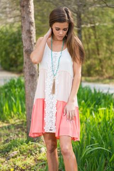 Grow Your Love Dress, Peach || Your love will grow and grow for this dress! the colors are so soft and the crochet down the front is beautifully delicate! This little boho dress is going to your new spring/summer favorite!