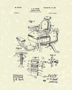Barbers Chair 1901 Patent Art Drawing  - Barbers Chair 1901 Patent Art Fine Art Print