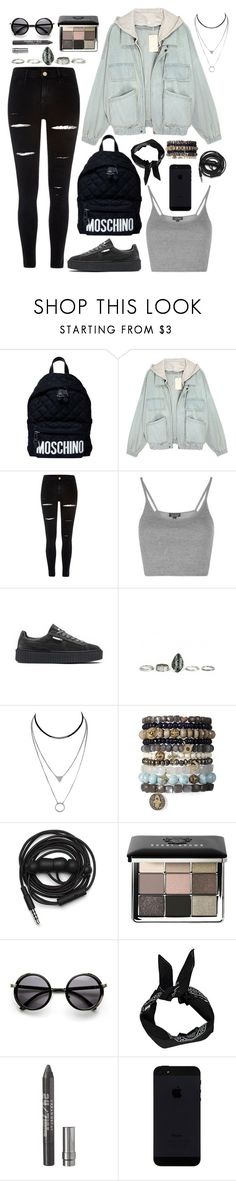 """""""I'm never gonna find my way if I don't learn to let go. The past is the past, today is today, and there's things I can't control."""" by povring ❤ liked on Polyvore featuring Moschino, River Island, Topshop, Puma, Urbanears, Bobbi Brown Cosmetics, Boohoo, Urban Decay, polyversary and contestentry"""