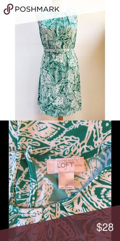LOFT Petites NWOT Green & White Belted Knit Dress Excellent condition. Never worn! Comes from a smoke- and pet-free house. Bundle for additional savings! LOFT Dresses