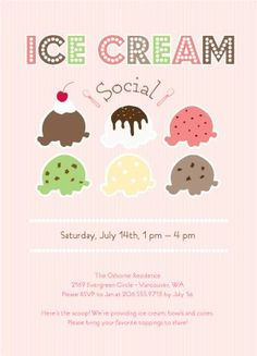 DIY Templates by Ellinee: download and print! Ice cream social invite. CUTE! @Lynne Norder, did you see these?