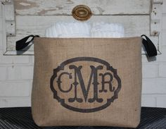 Monogram Burlap Bin Container chic storage by asouthernbucket, $86.00