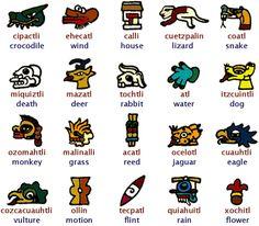 Los signos de los 20 días del calendario Azteca ( nombres en Nahuatl de rojo )