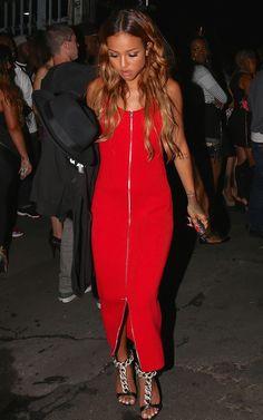 Get the Look: Chris Brown's 2014 BET Awards After Party Givenchy Mechanical T-Shirt + Karrueche Tran's Alexander Wang Red Two Way Zip Dress ...