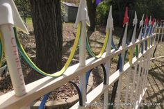 Faux wrought iron fence tutorial - straping, PVC pipe, and craft foam - Modern Design Halloween Fence, Halloween Outside, Outdoor Halloween, Halloween Diy, Halloween Decorations, Halloween Graveyard, Outdoor Decorations, Halloween 2020, Rod Iron Fences