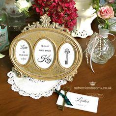 vintage frame hire £6 vintage key name cards £1.99 www.bohemiandreams.co.uk Vintage Props, Vintage Keys, Vintage Frames, Vintage Table, Wedding Favours, Wedding Stationery, Wedding Invitations, Wedding Ideas, Table Names