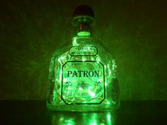 Patron Tequila Green Lighted Bottle by BoMoLuTra on Etsy, $23.00