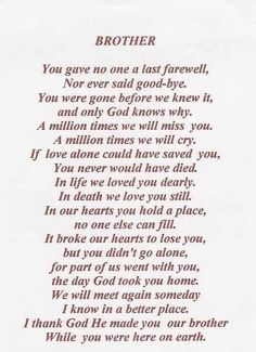 memorial poems for deceased brother - Google Search