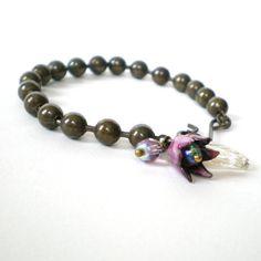purple flower ball chain bracelet enamelled flower by jcudesigns, £10.00