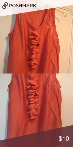 Salmon colored sleeveless top Salmon colored, sleepless, ruffled. Great under a blazer for work The Limited Tops Tunics