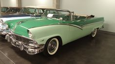 1956 Ford Sunliner Convertible in Mountain Green (upper color) and Meadowmist Green (lower color); Pine Ridge Green (interior color); car displayed at LeMay Auto Museum, Tacoma, Washington, U.S.A.