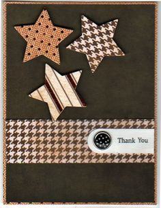handcrafted card ... monochromatic browns ...like the  die cut stars from patterned papers ...