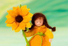 Little sun flower feltfigure for the fall nature by lepetitagneau