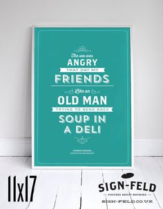 a1d96db3b The Sea was Angry Poster 11x17 - Seinfeld Quote Print - Vintage Retro  Typography #signfeld