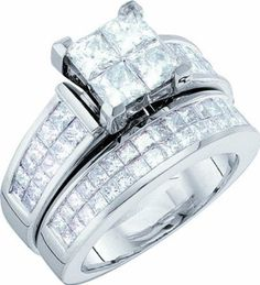 Ladies 14k White Gold 3 Ct Princess Cut Diamond Wedding Engagement Bridal Ring Set:Amazon:Jewelry