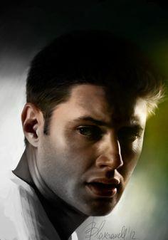 monochrome / color by Blakravell on deviantART ~ Jensen Ackles ~ Photoshop / tablet digital art