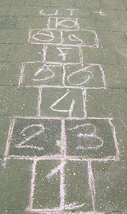 I spent hours playing hopscotch. When playing on the side walk, I used a small chain as my marker because it slid real good. When playing on dirt, I used just the right sized piece of broken glass because it would stick real good. Nostalgic Pictures, Good Old Times, Remember The Time, Childhood Days, School Memories, Hopscotch, Oldies But Goodies, Sweet Memories, The Good Old Days