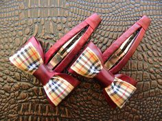 Snap Vinous / Scottish Checked Hair Clips | Bows  http://laprensaccessories.com/?page_id=12#ecwid:category=0=product=12109779
