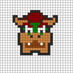 Bowser by Immelody on Kandi Patterns Kandi Patterns, Hama Beads Patterns, Alpha Patterns, Pearler Beads, Fuse Beads, Cross Stitch Designs, Cross Stitch Patterns, Mario Crochet, Mario Room