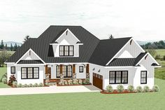 A covered entry porch with a large gable centered above and a courtyard-entry garage greet you to this country Craftsman house plan. Garage House Plans, Craftsman House Plans, New House Plans, Dream House Plans, House Floor Plans, Open Floor Plans, Open Floor Plan Homes, House With Garage, Rambler House Plans