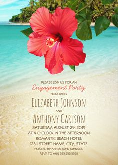 Beach Engagement Party Invitations - Tropical Hibiscus Flower Hawaiian Palm Trees. Unique, romantic nautical coastal invitations. Feature a beautiful red hibiscus flower on a beach with palm trees with trendy typography. A romantic invitation perfect for beach themed, nautical, Hawaiian or tropical engagement parties. This creative engagement invitation is fully customized. Start with ordering your first sample. More at http://superdazzle.com