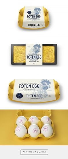 Toten Egg by Strømme Throndsen Design. Source: The Dieline. Pin curated by #SFields99 #packaging #design #inspiration #ideas #typography #illustration #color #label #box #cardboard #range #innovation #creative #product #consumer #eggs #poultry #food #proteine