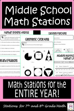 Middle School Math Stations Bundle In-depth middle school math stations for grade, grade, and algebra classroom. These math centers are aligned to the common cores, and are great for groups and differentiation. Covering topics in number systems, Math Teacher, Math Classroom, Teaching Math, Teacher Binder, School Lessons, Math Lessons, Math Stations, Math Centers, Sixth Grade Math