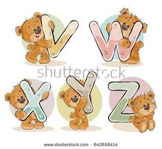 Set of letters of the English, the Latin alphabet are in the clutches of funny teddy bear. Part 5 - the letters V, W, X, Y, Z