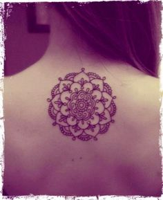 Lotus tattoo, back, black and white. Blue would be pretty too different shades