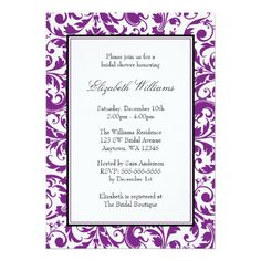 Purple and Black Swirl Damask Bridal Shower Card