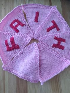 "Handmade Personalised Knitted Bunting ""Faith"" Gift Baby Toddler  