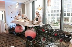 Chef's team setting up our Oru Restaurant Oyster Station at Fairmont Pacific Rim