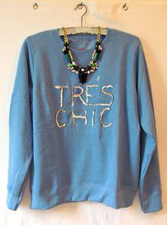 TRES CHIC sequined fashion statement oversized sweatshirt $20.00