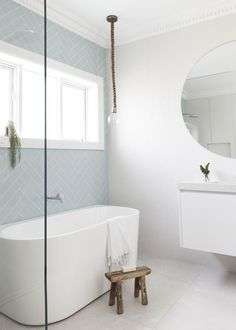 Simple Bathroom Shower Makeover Decor Ideas to Upgrade Your Bathroom Laundry In Bathroom, Bathroom Renos, Simple Bathroom, Bathroom Renovations, Modern Bathroom, Master Bathroom, Bathroom Ideas, Bathroom Tubs, Blue Bathroom Tiles