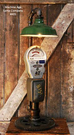 Steampunk Industrial Lamp, Steam & Parking Meter & Gear