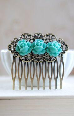 Blue Rose Hair Comb. Trio Blue Roses Brass Filigree