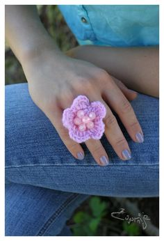 Baby pink crochet rose ring with pink pearls. €8.00, via Etsy.