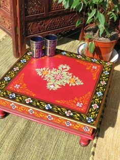 Hand painted Indian bajot table in red