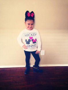 Minnie Mouse Hair, Mickey n Minnie Top from Forever 21, black leggings n cheetah combat boots ❤️ SophiaAlexis