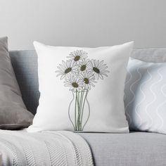 'Vase of Daisies minimal art' Throw Pillow by PounceBoxArt Canvas Prints, Art Prints, Free Stickers, Designer Throw Pillows, Pillow Design, Cotton Tote Bags, Minimalism, Daisy, Cushions