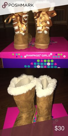 84c8658eb797 Shop Kids  Rampage Brown size Boots at a discounted price at Poshmark.  Description  💕💕💕Brand New Girls Boots with the fur💕💕💕 Super Cute  Chestnut Color ...