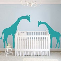 mairgwall animal wall sticker two cute giraffes wall decor for nursery roomgirls roomboys room 68hx120wteal - Diy Entfernbarer Backsplash