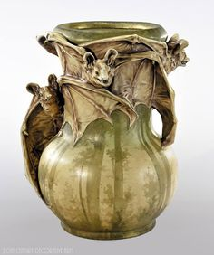 A rare Art Nouveau symbolist earthenware ceramic vase designed by Eduard Stellmacher circa 1900-1902 for RStK (Riessner, Stellmacher & Kessel)