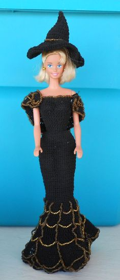 Handmade Barbie Crocheted gown w beading & stand Halloween theme OOAK w doll #DollswithClothingAccessories