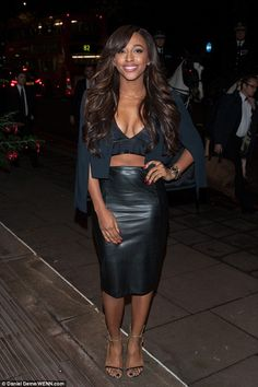 Turning heads: Alexandra Burke drew attention long before she hit the stage as she arrived at Grosvenor Park on Wednesday evening Alexandra Burke, Black Leather Skirts, Celebs, Celebrities, Beautiful Black Women, Wearing Black, Beautiful Actresses, Celebrity Style, Dress Up