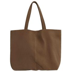 Leather Shopper Bag ($56) ❤ liked on Polyvore featuring bags, handbags, tote bags, zip tote bag, shopper tote, leather shopper tote bags, leather shopper tote and brown leather tote