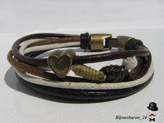 Lederarmbänder -  Lässiges Lederarmband: Braun - Schwarz - Natur - ein Designerstück von Bijouxbaron bei DaWanda
